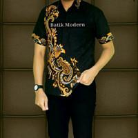 kemeja batik pria, hitam manis kujang