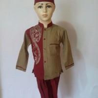 Soleh Setelan Baju Koko Anak Lengan Pendek Bordir Baju Muslim Baru SAK