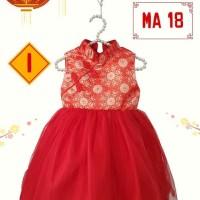Dress Anak Satin Tulle Imlek Bunga Bulat Merah Clma18Iouz