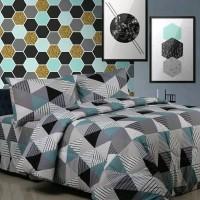 Bed Cover set Motif Prisma Abu VN3004801 uk 180 Tinggi 30 Murah