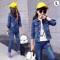Baju anak Cewek setelan Belle Maison 3in1 Love Jaket Jeans Import