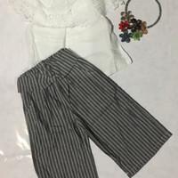Baju anak perempuan setelan 2 set celana kulot atasan model Sabrina