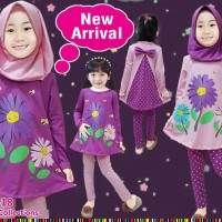 baju muslim anak little pineapple bunga cantik uk 2-7 thn
