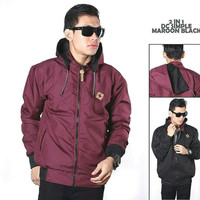 jaket bb dc maroon hitam / jaket bolak balik 2in1 bolbal premium