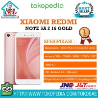 HP XIAOMI REDMI NOTE 5A RAM 2GB INTERNAL 16GB ROSE GOLD ANDROID XIOMI