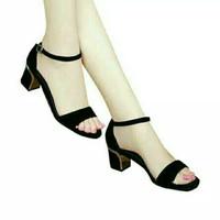 Jual sepatu high heels cantik midi hills hitam sepatu wanita murah Murah