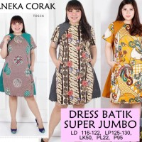 Jual 424 Dress Batik Super Jumbo Bigsize Baju Atasan Wanita Big Size vol11 Murah