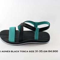 cafu agnes sepatu sandal gunung anak perempuan hitam tosca