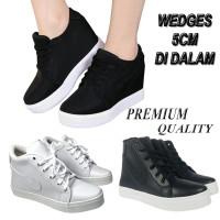Jual Sepatu Sneaker Hidden Wedges Cewek / Kets Sneakers Wanita Putih Hitam Murah