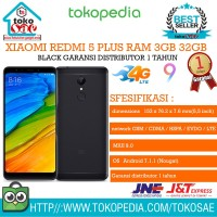 HP XIAOMI REDMI 5 PLUS RAM 3GB 32GB BLACK ANDROID XIOMI ORI 3 32 GB