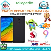HP XIAOMI REDMI 5 PLUS RAM 4 64 BLACK GARANSI DISTRI 1 TAHUN ANDROID