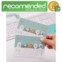 Stiker Sticky Notes Cute Cat Paw - Multi Warna