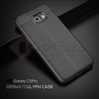 Samsung Galaxy C5 Pro Stitches Leather Armor Soft Case Casing Silikon