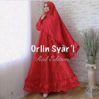 gamis syari orlin red .baju muslim merah. pesta PROMO