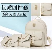Ransel Fashion Kecil 4 in 1 Import Kulit Anak Simple Pink Tas Clutch