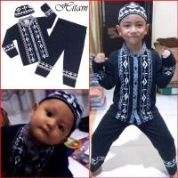 Baju Muslim Koko Gamis Anak Laki Bayi Baby HITAM MARUNO