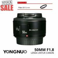 Jual Lensa Yongnuo Canon 50mm f1 8 Plus UV Lensa fix Canon Lensa Bokeh YN Murah