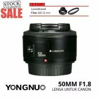 Jual Lensa yongnuo 50mm f1 8 Canon free UV Lenshood Lensa fix Canon Lensa Murah
