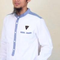 Baju Muslim Pria Koko Model Samase Warna Putih Biru Lengan Panjang