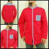 Baju Muslim Pria Modern Baju Koko Samase Warna Merah Biru  Panjang
