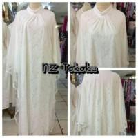 Baju Gamis Putih Muslim Brokat Murah Dress Kaftan Untuk Lebaran,