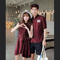 Kemeja Couple Lengan Panjang Baju Couple Dress Atctic Cloe Maroon