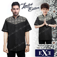 Kemeja / Baju Koko Muslim Couple Ayah Anak - Hitam Kombinasi Batik - T