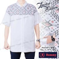 Kemeja / Baju Koko Muslim Pria eXe - Putih Kombinasi Batik Special - T