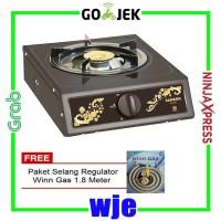 Sanken SG-220T Kompor Gas 1 Tungku + Paket Selang Regulator Win Gas