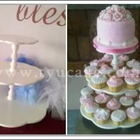 Round Elegant Cupcake Stand-White Kayu