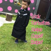 Baju muslim koko gamis anak pria laki syar'i hitam (1-12tahun)