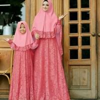 Diskon Baju Couple Busana Muslim Keluarga / Ibu & Anak Cpmk Naura Pink