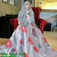 Syari Tulip Abu Baju Muslim Wanita Kekinian Gamis Syar i Model Terba