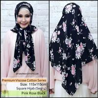 Hijab Premium Viscose Cotton Series Pink Rose Black | katun motif