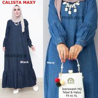 Baju wanita gamis calista jeans muslim modern lucu unik modis trendi