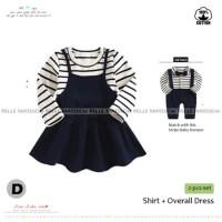 Dress Bayi Warna Hitam Motif Garis-garis Baju Bayi Perempuan Terusan