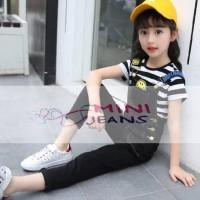 Mini Jeans Set Overall Smile Stripe Black| Baju Setelan Anak Perempuan