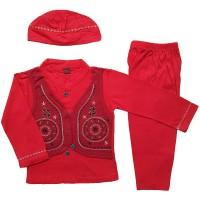 Baju Muslim Koko 6-12 Bulan Anak Bayi Laki-Laki Setelan Set Peci LY11