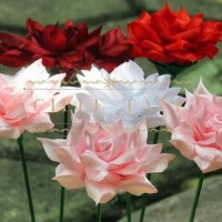 bunga satin / bunga satin mawar / paket bunga 120buah (blooming rose)