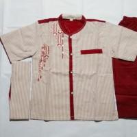 Baju Koko Anak Laki 3In1 Premium Design - Setelan Muslim Lengan Pendek