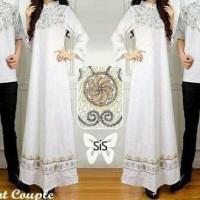 Nm610 Baju Busana Muslim Pasangan Putih Gamis Elegant Couple White L