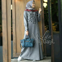 AS-nazlan by gagil grey-maroon/baju gamis daily