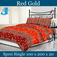 Tommony Sprei Single 100 x 200 - Red Gold