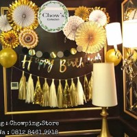 SET Happy Birthday GOLD Decoration / Paket Dekorasi Ulang Tahun GOLD