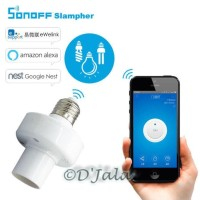 Jual Sonoff Slampher Wireless LED Bulb Holder Wifi & RF 433MHz Remote Contr Murah