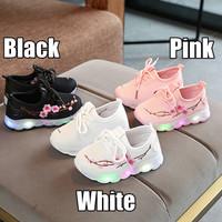 Sepatu Olahraga / Sneakers / Kets Anak Perempuan TK Lampu / LED Sakura