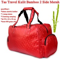 Tas Travel 2 Side Pocket Kulit Bamboo MERAH