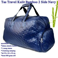Tas Travel 2 Side Pocket Kulit Bamboo NAVY