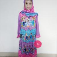 Baju muslim gamis susun frozen biru ungu anak umur 5-9 tahun
