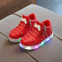 Sepatu Boots Anak - Boots Diamond Led Red